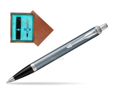 Parker IM Light Blue Grey CT Ballpoint Pen  single wooden box  Mahogany Single Turquoise