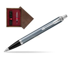 Parker IM Light Blue Grey CT Ballpoint Pen  single wooden box  Wenge Single Maroon