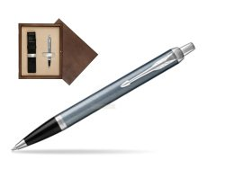 Parker IM Light Blue Grey CT Ballpoint Pen  single wooden box  Wenge Single Ecru