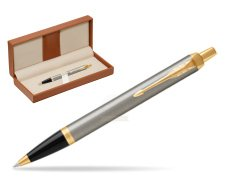 Parker IM Brushed Metal GT Ballpoint Pen  in classic box brown