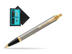 Parker IM Brushed Metal GT Ballpoint Pen  single wooden box  Black Single Turquoise