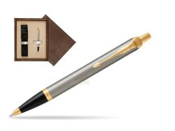 Parker IM Brushed Metal GT Ballpoint Pen  single wooden box  Wenge Single Ecru