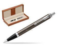 Parker IM Dark Espresso Lacque CT Ballpoint Pen  in classic box brown
