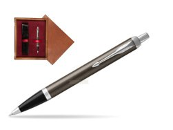 Parker IM Dark Espresso Lacque CT Ballpoint Pen  single wooden box Mahogany Single Maroon
