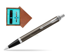 Parker IM Dark Espresso Lacque CT Ballpoint Pen  single wooden box  Mahogany Single Turquoise