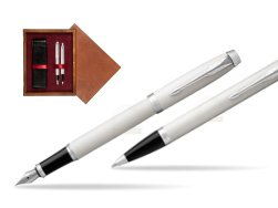 Parker IM White CT 2016 Fountain Pen + Ballpoint Pen in a Gift Box  double wooden box Mahogany Double Maroon