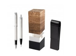 Parker IM White CT 2016 Fountain Pen + Ballpoint Pen in a Gift Box  StandUP Wood