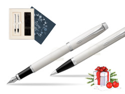 Parker IM White CT 2016 Fountain Pen + Ballpoint Pen in a Gift Box in Christmas Gift Box navy blue