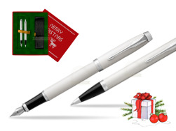 Parker IM White CT 2016 Fountain Pen + Ballpoint Pen in a Gift Box  Christmas red