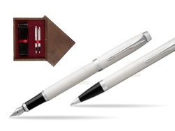 Parker IM White CT 2016 Fountain Pen + Ballpoint Pen in a Gift Box  double wooden box Wenge Double Maroon