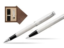 Parker IM White CT 2016 Fountain Pen + Ballpoint Pen in a Gift Box  double wooden box Wenge Double Ecru