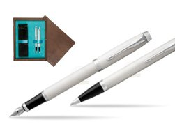 Parker IM White CT 2016 Fountain Pen + Ballpoint Pen in a Gift Box  double wooden box Wenge Double Turquoise