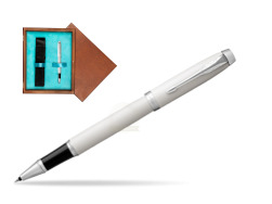 Parker IM White CT Rollerball Pen  single wooden box  Mahogany Single Turquoise