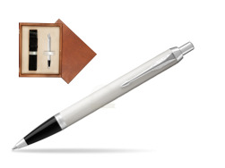 Parker IM White CT Ballpoint Pen  single wooden box  Mahogany Single Ecru
