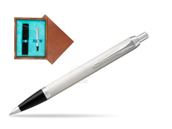 Parker IM White CT Ballpoint Pen  single wooden box  Mahogany Single Turquoise