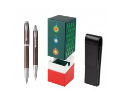 Parker IM Premium Brown CT T2016 Fountain Pen + Ballpoint Pen in a Gift Box  StandUP Christmas Tree