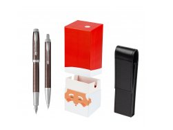 Parker IM Premium Brown CT T2016 Fountain Pen + Ballpoint Pen in a Gift Box  StandUP Santa Claus