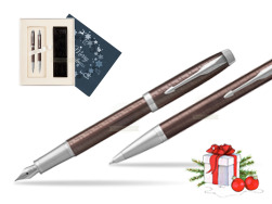 Parker IM Premium Brown CT T2016 Fountain Pen + Ballpoint Pen in a Gift Box  Christmas navy blue