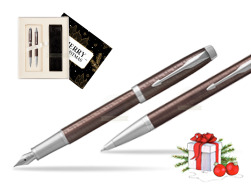 Parker IM Premium Brown CT T2016 Fountain Pen + Ballpoint Pen in a Gift Box  Magic of Christmas