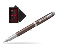Parker IM Premium Brown CT Fountain Pen  single wooden box  Black Single Maroon