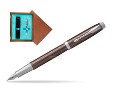 Parker IM Premium Brown CT Fountain Pen  single wooden box  Mahogany Single Turquoise