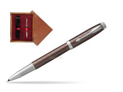 Parker IM Premium Brown CT Rollerball Pen  single wooden box Mahogany Single Maroon