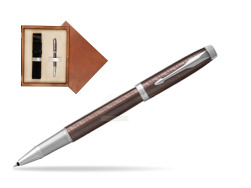 Parker IM Premium Brown CT Rollerball Pen  single wooden box  Mahogany Single Ecru