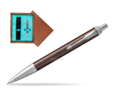 Parker IM Premium Brown CT Ballpoint Pen  single wooden box  Mahogany Single Turquoise