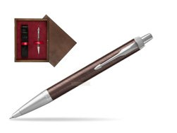 Parker IM Premium Brown CT Ballpoint Pen  single wooden box  Wenge Single Maroon