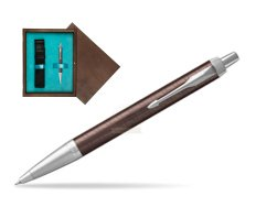 Parker IM Premium Brown CT Ballpoint Pen  single wooden box  Wenge Single Turquoise