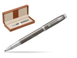 Parker IM Premium Dark Espresso Chiselled CT Rollerball Pen  in classic box brown