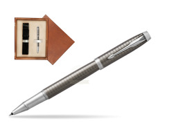 Parker IM Premium Dark Espresso Chiselled CT Rollerball Pen  single wooden box  Mahogany Single Ecru