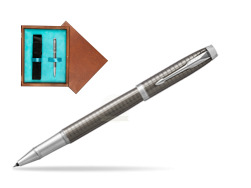 Parker IM Premium Dark Espresso Chiselled CT Rollerball Pen  single wooden box  Mahogany Single Turquoise