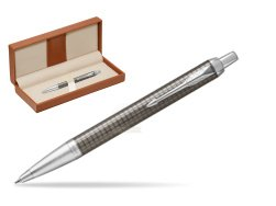 Parker IM Premium Dark Espresso Chiselled CT Ballpoint Pen  in classic box brown