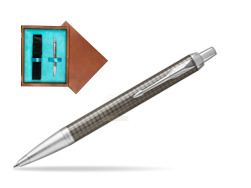 Parker IM Premium Dark Espresso Chiselled CT Ballpoint Pen  single wooden box  Mahogany Single Turquoise