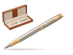 Parker IM Premium Warm Silver GT Fountain Pen  in classic box brown