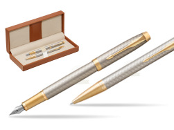 Parker IM Premium Warm Silver GT T2016 Fountain Pen + Ballpoint Pen in a Gift Box  in classic box brown