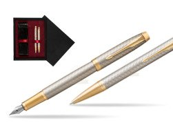 Parker IM Premium Warm Silver GT T2016 Fountain Pen + Ballpoint Pen in a Gift Box  double wooden box Black Double Maroon