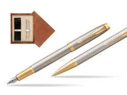 Parker IM Premium Warm Silver GT T2016 Fountain Pen + Ballpoint Pen in a Gift Box  double wooden box Mahogany Double Ecru