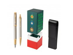 Parker IM Premium Warm Silver GT T2016 Fountain Pen + Ballpoint Pen in a Gift Box  StandUP Christmas Tree