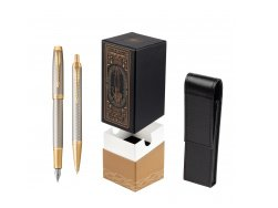 Parker IM Premium Warm Silver GT T2016 Fountain Pen + Ballpoint Pen in a Gift Box  StandUP For Men Only