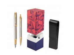 Parker IM Premium Warm Silver GT T2016 Fountain Pen + Ballpoint Pen in a Gift Box  StandUP Hot Hearts
