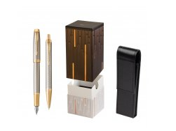 Parker IM Premium Warm Silver GT T2016 Fountain Pen + Ballpoint Pen in a Gift Box  StandUP Matrix