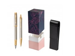 Parker IM Premium Warm Silver GT T2016 Fountain Pen + Ballpoint Pen in a Gift Box  StandUP Roses