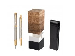 Parker IM Premium Warm Silver GT T2016 Fountain Pen + Ballpoint Pen in a Gift Box  StandUP Wood