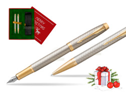 Parker IM Premium Warm Silver GT T2016 Fountain Pen + Ballpoint Pen in a Gift Box in Christmas Gift Box red