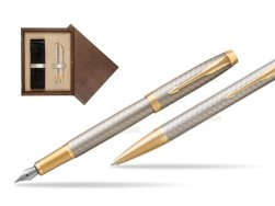 Parker IM Premium Warm Silver GT T2016 Fountain Pen + Ballpoint Pen in a Gift Box  double wooden box Wenge Double Ecru