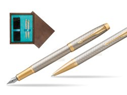 Parker IM Premium Warm Silver GT T2016 Fountain Pen + Ballpoint Pen in a Gift Box  double wooden box Wenge Double Turquoise
