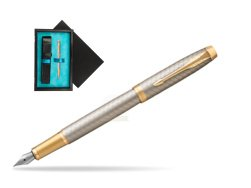 Parker IM Premium Warm Silver GT Fountain Pen  single wooden box  Black Single Turquoise