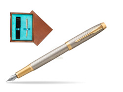 Parker IM Premium Warm Silver GT Fountain Pen  single wooden box  Mahogany Single Turquoise